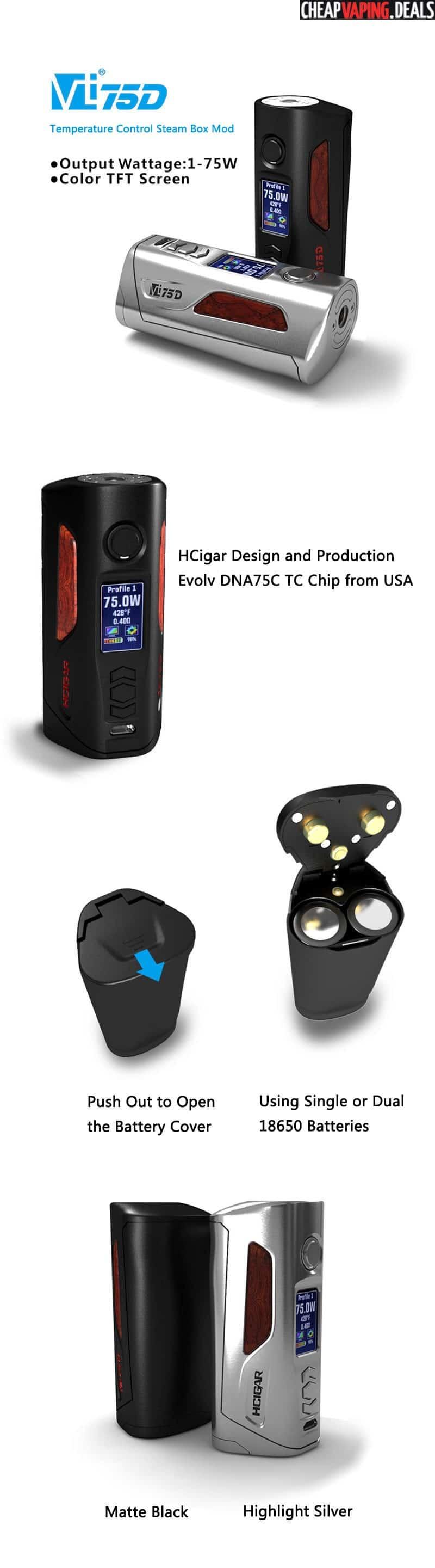HCigar VT75D DNA 75C Box Mod $87 76 & Free Shipping - Cheap Vaping Deals