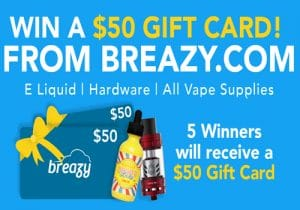 Breazy.com Giveaway: 5 x $50 Gift Cards (US Only)