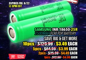 US Store: Samsung 25R 18650 Batteries $3.49 To $4.99 Each