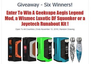 Sourcemore Giveaway: 2 x Geekvape Aegis Legend Mods, 2 x Wismec Luxotic DF Squonkers, 2 x Joyetech Runabout Kits
