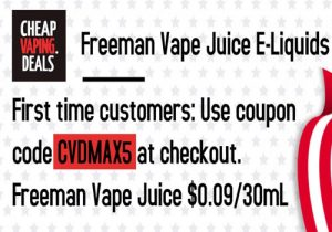 Blowout! Freeman Vape Juice E-Liquids $0.09/30mL (USA)