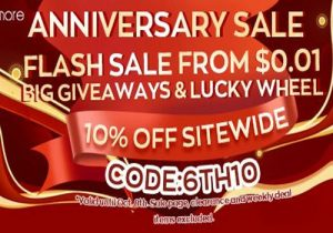 Sourcemore Anniversary Sale: $0.01 Flash Sales | Giveaways | Lucky Wheel | 10% Off Sitewide